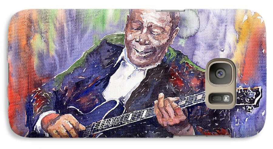 Jazz Galaxy S7 Case featuring the painting Jazz B B King 06 by Yuriy Shevchuk