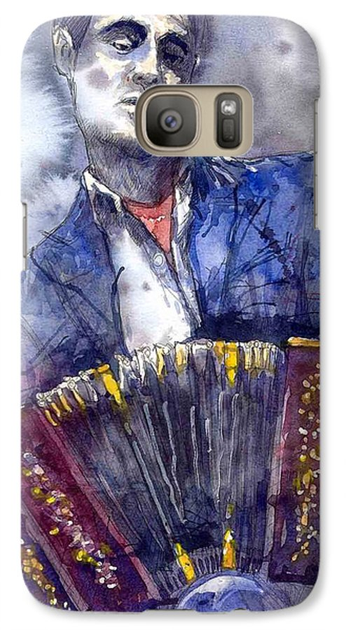Jazz Galaxy S7 Case featuring the painting Jazz Concertina Player by Yuriy Shevchuk