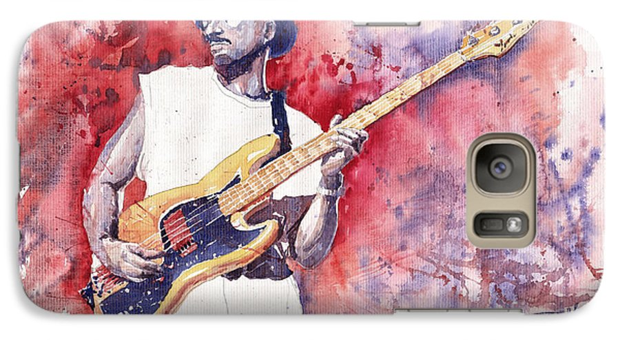 Jazz Galaxy S7 Case featuring the painting Jazz Guitarist Marcus Miller Red by Yuriy Shevchuk