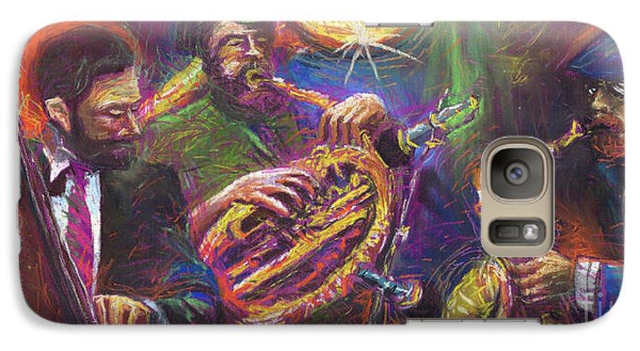 Jazz Galaxy S7 Case featuring the painting Jazz Jazzband Trio by Yuriy Shevchuk