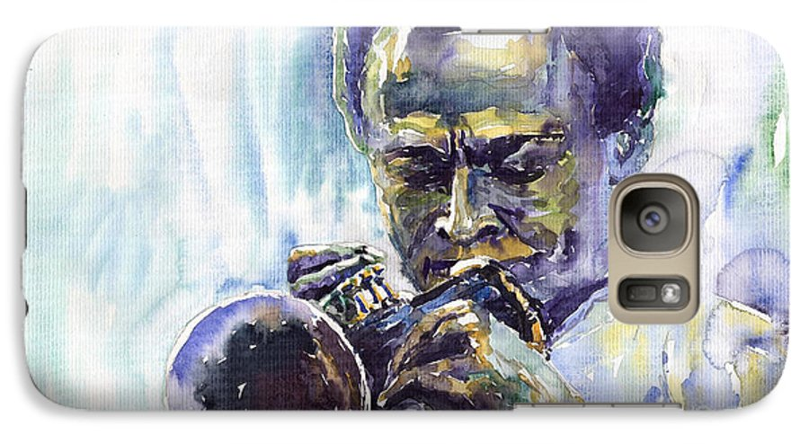 Jazz Miles Davis Music Musiciant Trumpeter Portret Galaxy S7 Case featuring the painting Jazz Miles Davis 10 by Yuriy Shevchuk