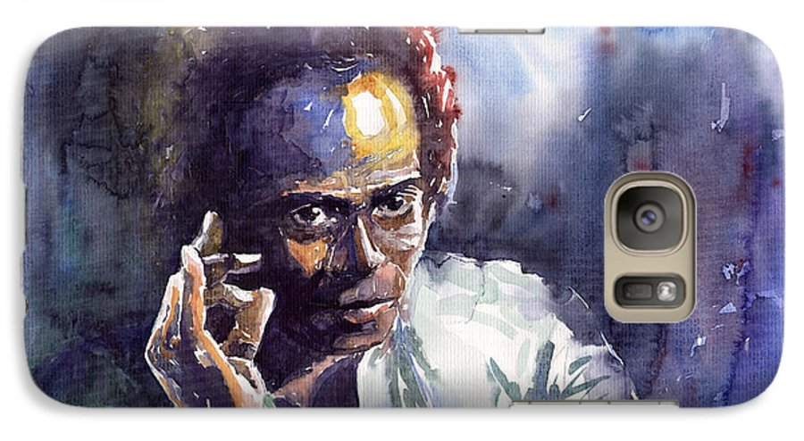 Jazz Watercolor Watercolour Miles Davis Portret Galaxy S7 Case featuring the painting Jazz Miles Davis 11 by Yuriy Shevchuk