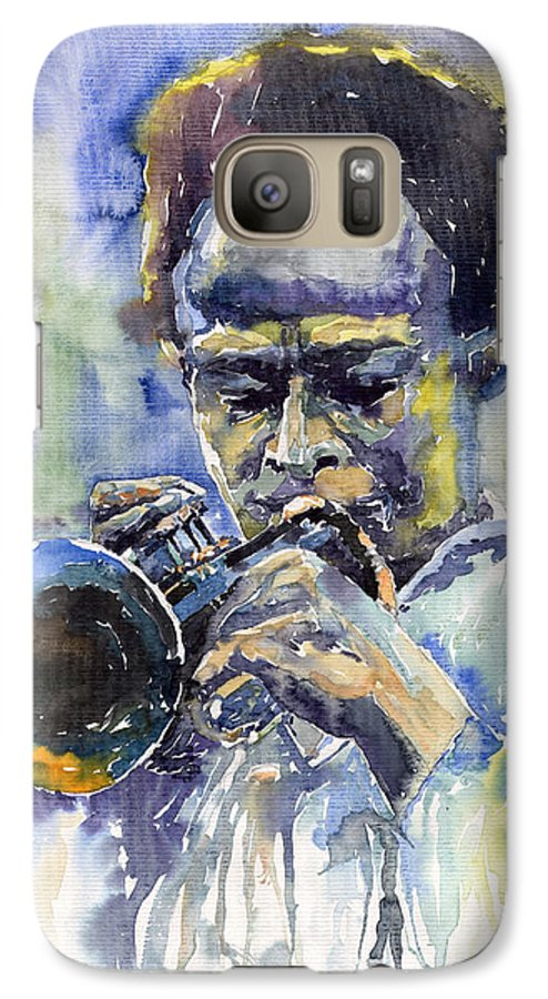 Jazz Galaxy S7 Case featuring the painting Jazz Miles Davis 12 by Yuriy Shevchuk