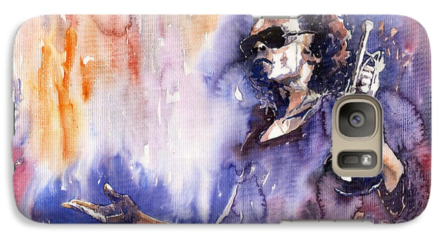 Jazz Galaxy S7 Case featuring the painting Jazz Miles Davis 14 by Yuriy Shevchuk
