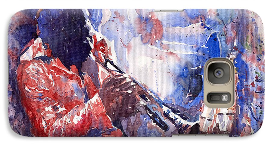 Jazz Galaxy S7 Case featuring the painting Jazz Miles Davis 15 by Yuriy Shevchuk