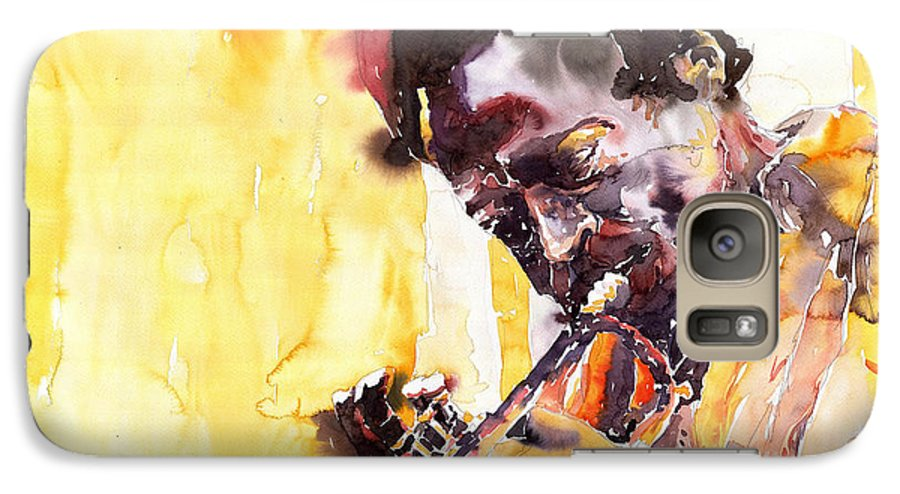 Jazz Music Watercolor Watercolour Miles Davis Trumpeter Portret Galaxy S7 Case featuring the painting Jazz Miles Davis 6 by Yuriy Shevchuk