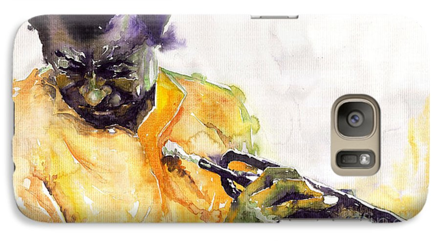 Davis Figurativ Jazz Miles Music Portret Trumpeter Watercolor Watercolour Galaxy S7 Case featuring the painting Jazz Miles Davis 7 by Yuriy Shevchuk