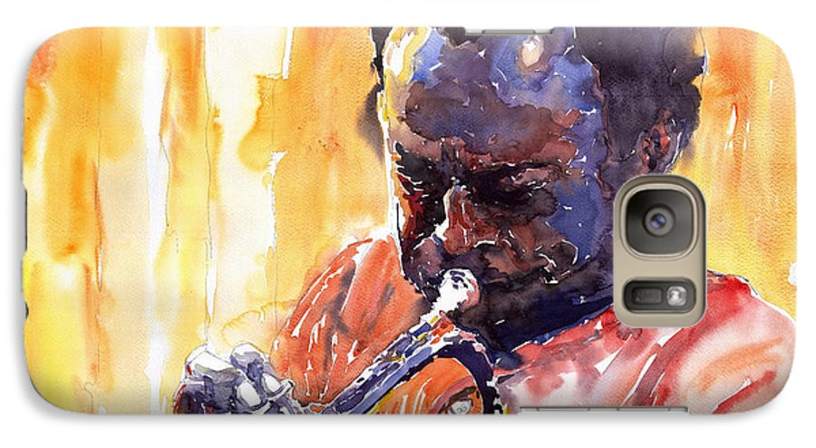 Jazz Miles Davis Music Watercolor Watercolour Figurativ Portret Trumpeter Galaxy S7 Case featuring the painting Jazz Miles Davis 8 by Yuriy Shevchuk