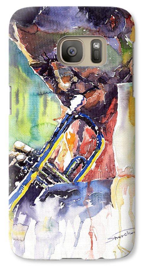 Jazz Miles Davis Music Musiciant Trumpeter Portret Galaxy S7 Case featuring the painting Jazz Miles Davis 9 Blue by Yuriy Shevchuk