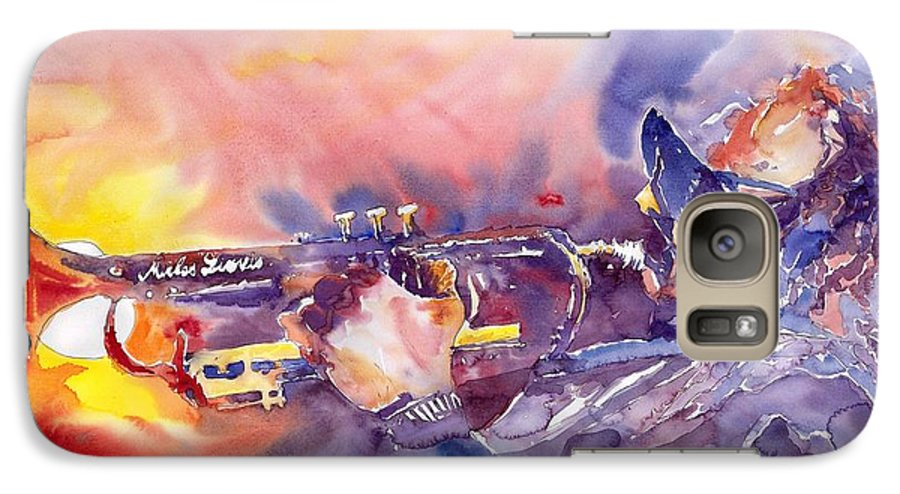 Jazz Watercolor Miles Davis Music Musician Trumpeter Figurative Watercolour Galaxy S7 Case featuring the painting Jazz Miles Davis Electric 1 by Yuriy Shevchuk