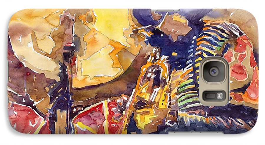 Miles Davis Figurative Jazz Miles Music Musiciant Trumpeter Watercolor Watercolour Galaxy S7 Case featuring the painting Jazz Miles Davis Electric 2 by Yuriy Shevchuk