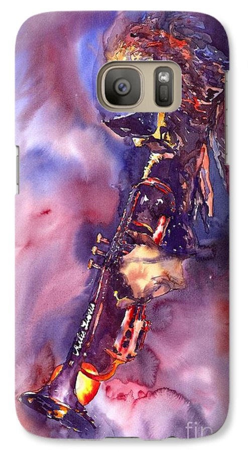 Davis Figurative Jazz Miles Music Musiciant Trumpeter Watercolor Watercolour Galaxy S7 Case featuring the painting Jazz Miles Davis Electric 3 by Yuriy Shevchuk