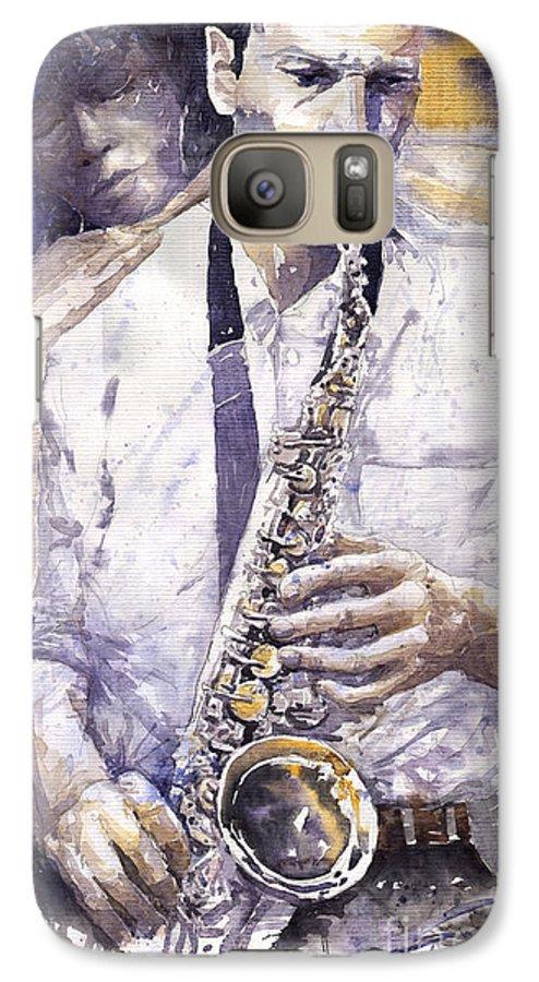 Jazz Galaxy S7 Case featuring the painting Jazz Muza Saxophon by Yuriy Shevchuk