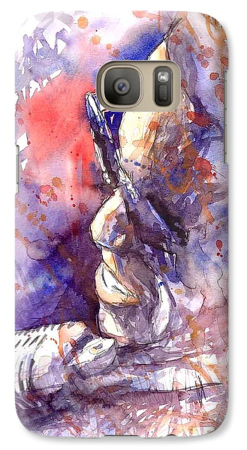 Portret Galaxy S7 Case featuring the painting Jazz Ray Charles by Yuriy Shevchuk
