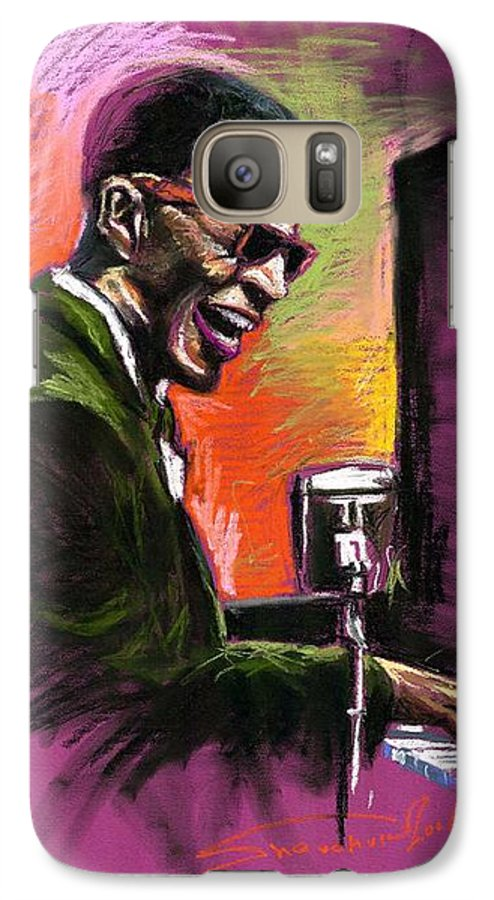 Galaxy S7 Case featuring the painting Jazz. Ray Charles.2. by Yuriy Shevchuk