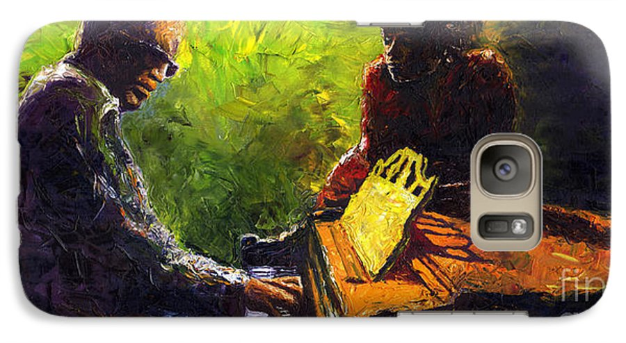 Jazz Galaxy S7 Case featuring the painting Jazz Ray Duet by Yuriy Shevchuk