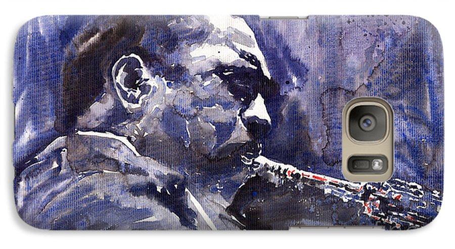Jazz Galaxy S7 Case featuring the painting Jazz Saxophonist John Coltrane 01 by Yuriy Shevchuk