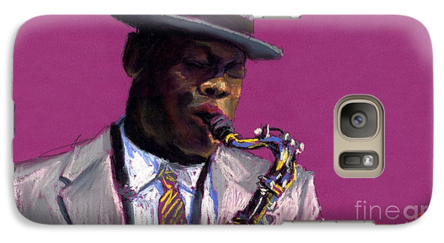 Jazz Galaxy S7 Case featuring the painting Jazz Saxophonist by Yuriy Shevchuk