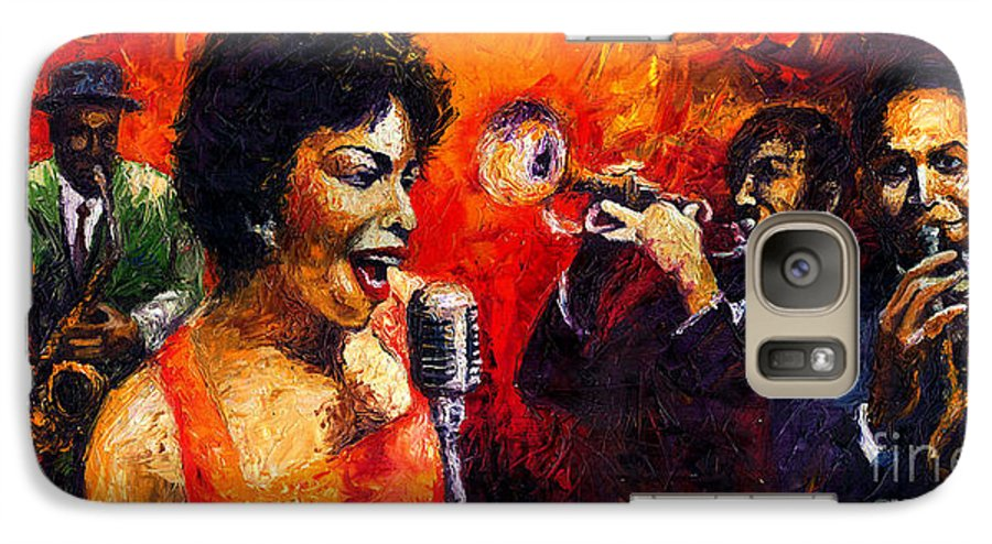 Jazz.song.trumpeter Galaxy S7 Case featuring the painting Jazz Song by Yuriy Shevchuk