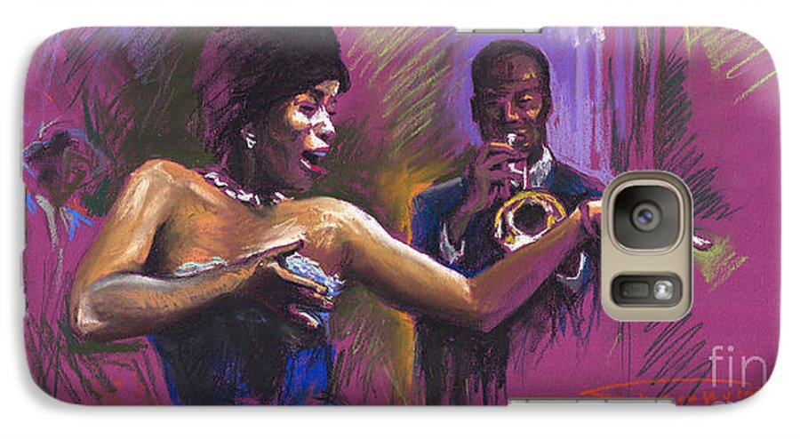 Jazz Galaxy S7 Case featuring the painting Jazz Song.2. by Yuriy Shevchuk