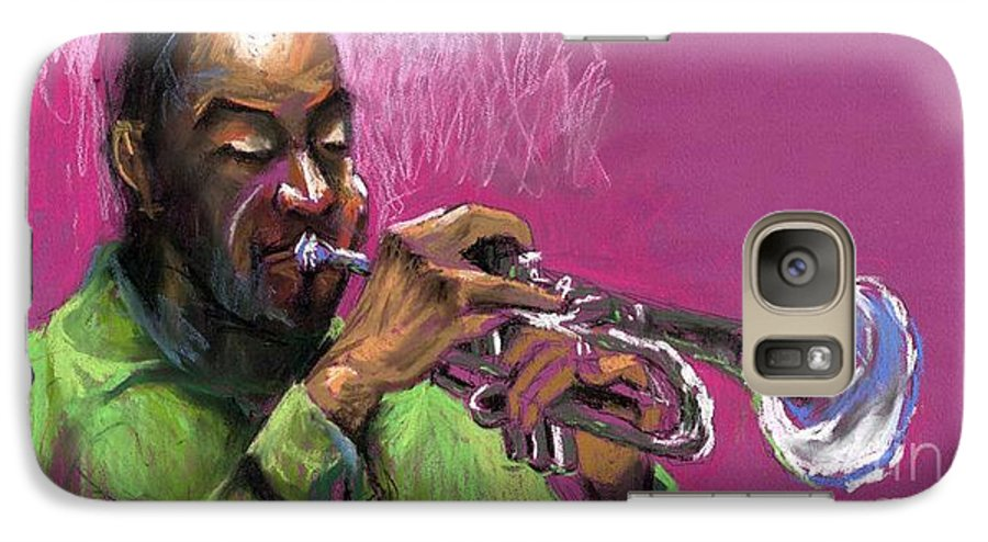 Jazz Galaxy S7 Case featuring the painting Jazz Trumpeter by Yuriy Shevchuk