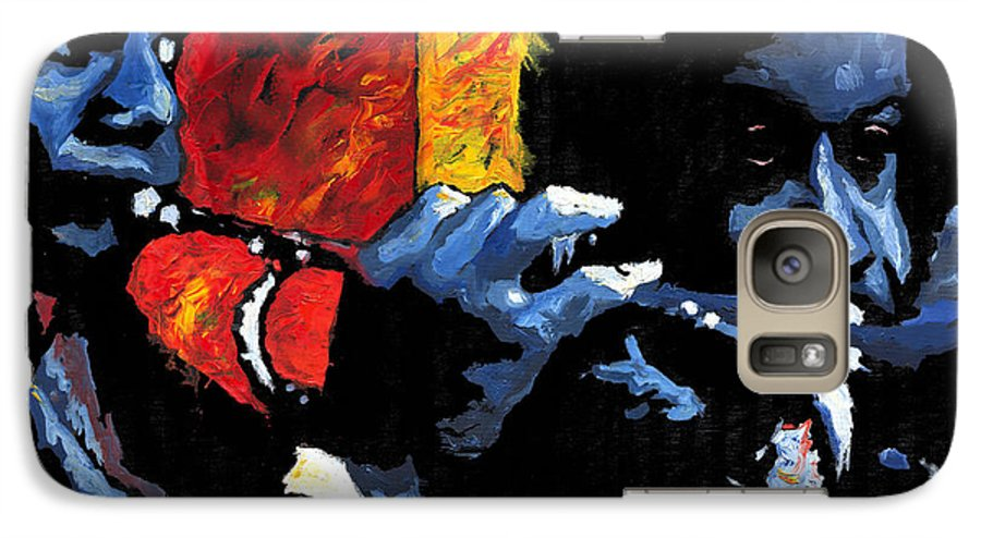 Jazz Galaxy S7 Case featuring the painting Jazz Trumpeters by Yuriy Shevchuk