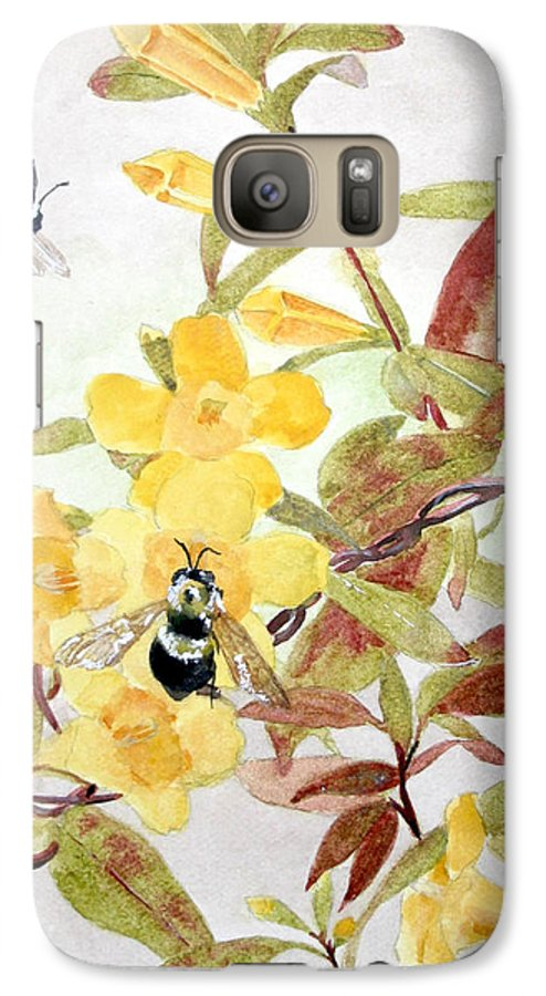 Jasmine Galaxy S7 Case featuring the painting Jessamine Bee Mine by Jean Blackmer