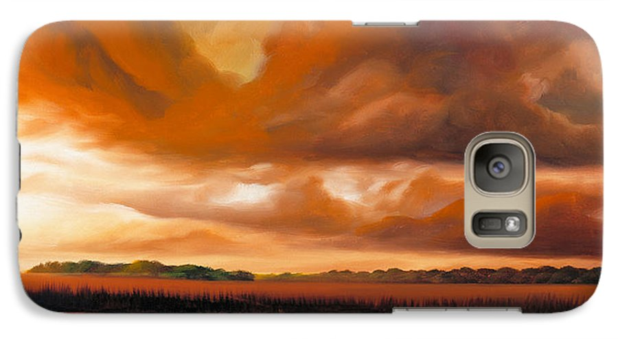 Clouds Galaxy S7 Case featuring the painting Jetties On The Shore by James Christopher Hill
