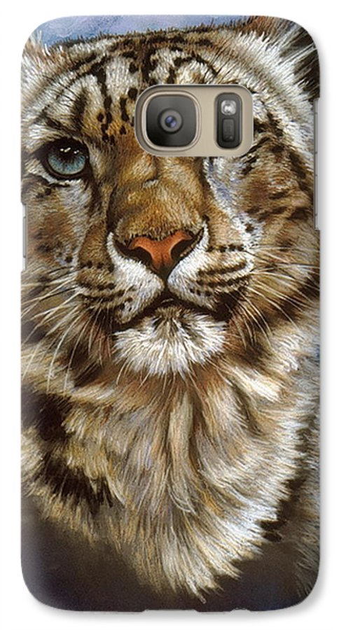 Snow Leopard Galaxy S7 Case featuring the pastel Jewel by Barbara Keith