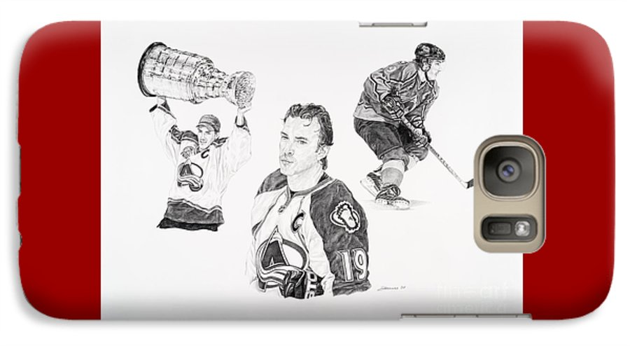 Hockey Galaxy S7 Case featuring the drawing Joe Sakic by Shawn Stallings