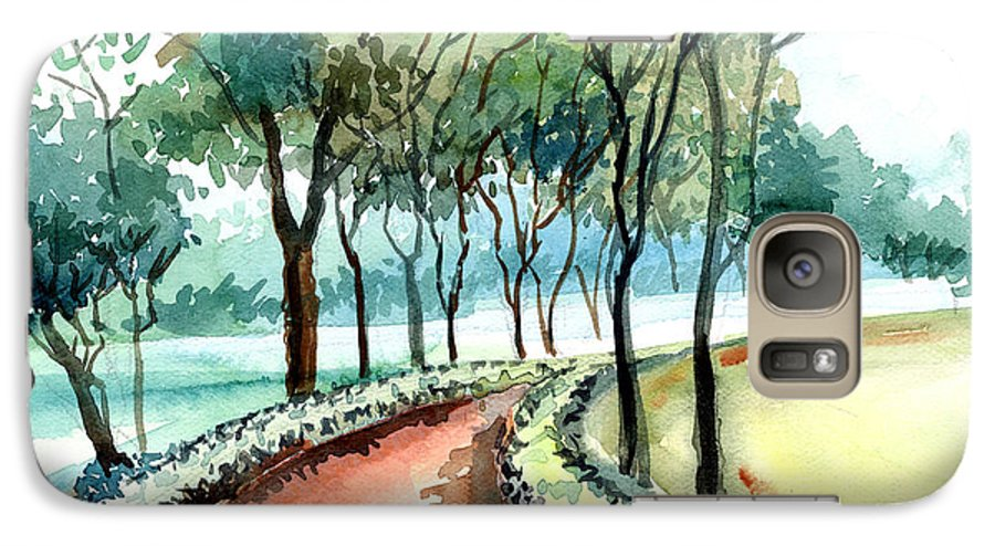 Landscape Galaxy S7 Case featuring the painting Jogging Track by Anil Nene