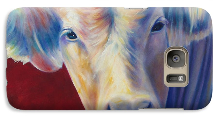 Bull Galaxy S7 Case featuring the painting Jorge by Shannon Grissom
