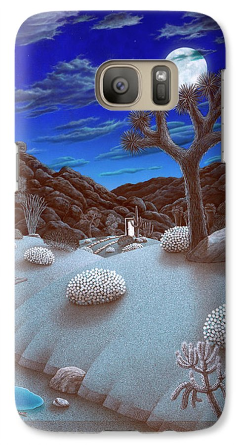 Landscape Galaxy S7 Case featuring the painting Joshua Tree At Night by Snake Jagger