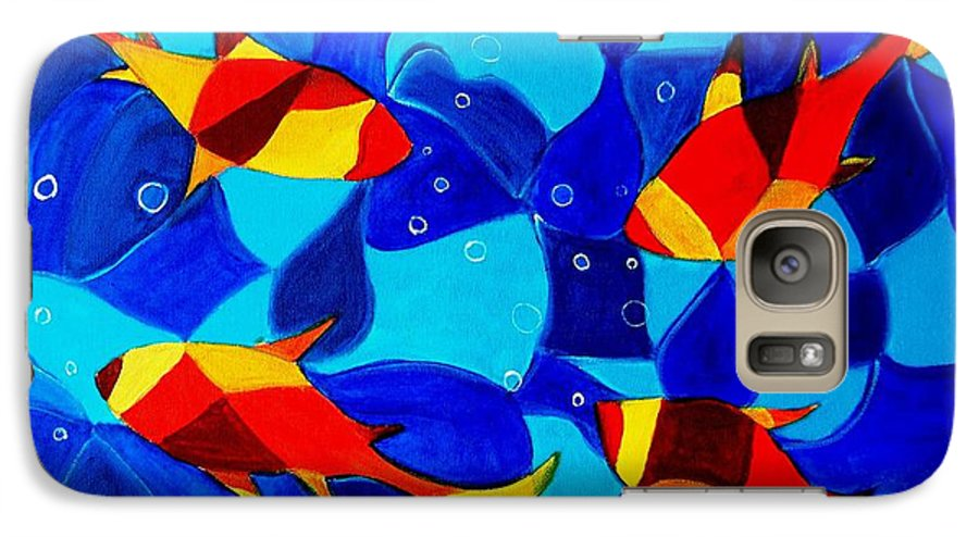 Abstract.acrylic.fish.bubbles.art.painting.modern.contemporary.popblue Red Bubbles Yellow Landscape Galaxy S7 Case featuring the painting Joy Fish Abstract by Manjiri Kanvinde