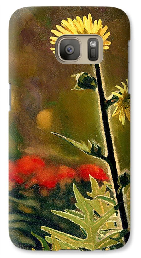 Prairie Flowers Galaxy S7 Case featuring the painting July Afternoon-compass Plant by Bruce Morrison