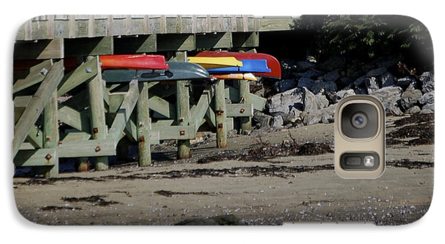 Kayak Galaxy S7 Case featuring the photograph Kayak Rack by Faith Harron Boudreau