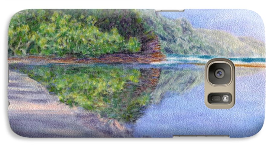 Rainbow Colors Pastel Galaxy S7 Case featuring the painting Ke' E Beach In May by Kenneth Grzesik