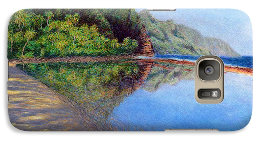 Rainbow Colors Pastel Galaxy S7 Case featuring the painting Ke'e Morning by Kenneth Grzesik