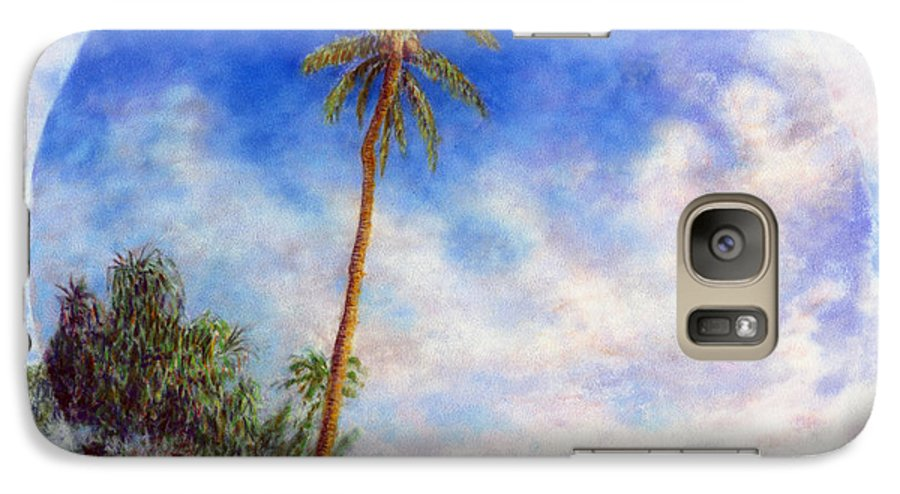 Rainbow Colors Pastel Galaxy S7 Case featuring the painting Ke'e Palm by Kenneth Grzesik