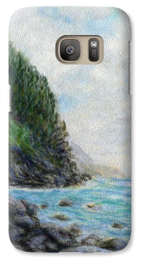 Rainbow Colors Pastel Galaxy S7 Case featuring the painting Ke'e Rocks by Kenneth Grzesik