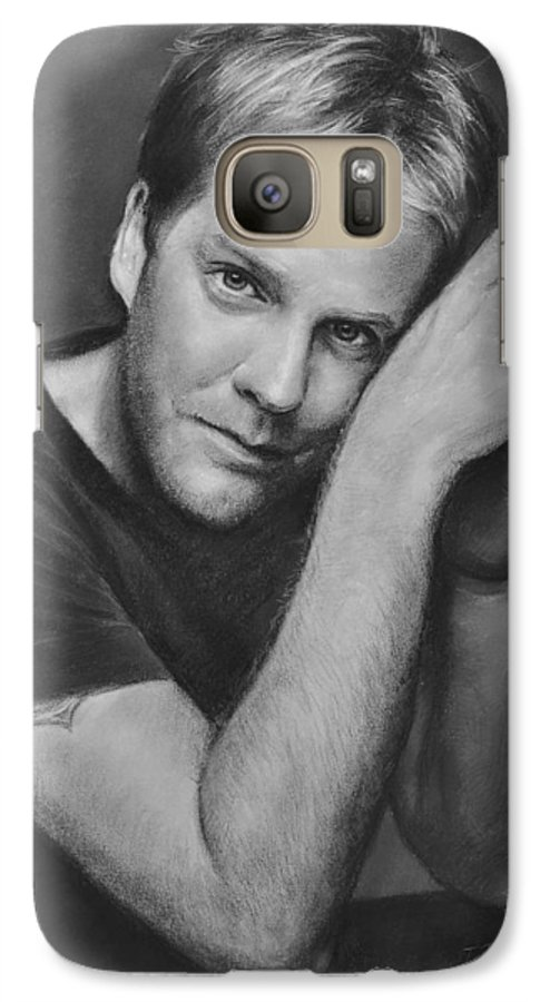 Portraits Galaxy S7 Case featuring the drawing Kiefer Sutherland by Iliyan Bozhanov
