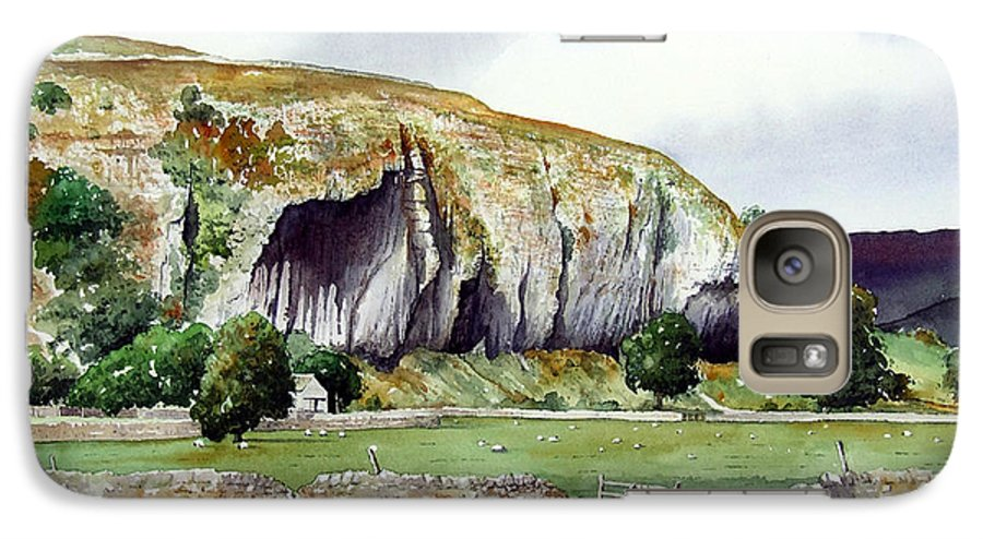 Landscape Galaxy S7 Case featuring the painting Kilnsey Crag by Paul Dene Marlor