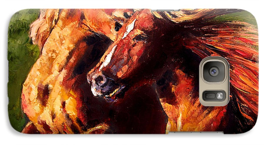Horses Running Galaxy S7 Case featuring the painting Kiss On The Run by John Lautermilch