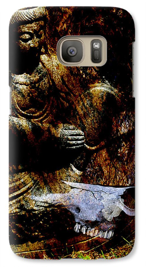 Kwan Yin Galaxy S7 Case featuring the mixed media Kwan Yin Meditates by Ann Tracy