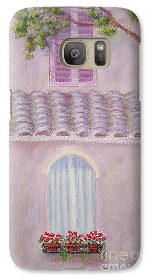 Window Boxes Galaxy S7 Case featuring the painting La Casa Rosa Lunga Il Treve by Mary Erbert