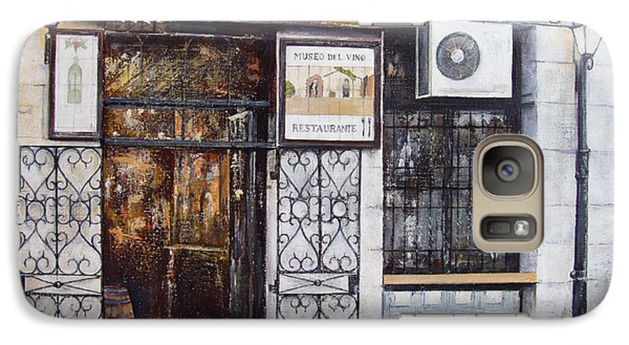 Bodega Galaxy S7 Case featuring the painting La Cigalena Old Restaurant by Tomas Castano