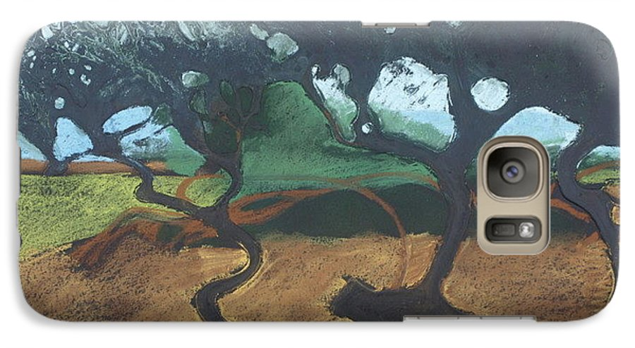 Contemporary Tree Landscape Galaxy S7 Case featuring the drawing La Jolla I by Leah Tomaino