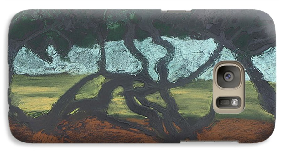 Contemporary Tree Landscape Galaxy S7 Case featuring the mixed media La Jolla II by Leah Tomaino