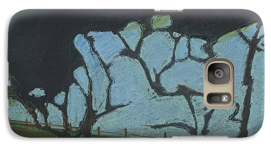 Contemporary Tree Landscape Galaxy S7 Case featuring the mixed media La Jolla IIi by Leah Tomaino