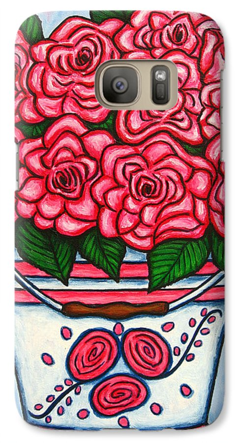 Rose Galaxy S7 Case featuring the painting La Vie En Rose by Lisa Lorenz